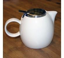 Teekanne cremeweiß mit Sieb