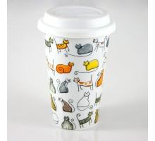 ChaCult Dodo Porzellan Tasse mit Deckel für Tea to go