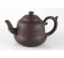 Chinesisches Teekännchen dunkelbraun mit Blüte