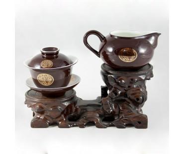 """Chinesisches Teeservice Set """"Gung Fu"""" von Auratic, Porzellan vergoldet, 16tlg."""