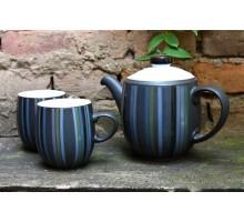 Denby Jet Stripes Teaset Teekanne mit 2 Bechern